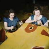 Women War Workers Painting Factory Equipment