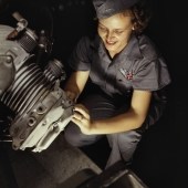 Woman Mechanic Works on a Wright Whirlwind Motor