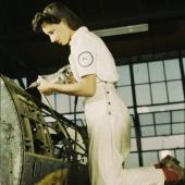 NYA Mechanic Trainee Rivets Aircraft Parts