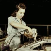 Drilling Wing Bulkhead at Consolidated Aircraft Plant