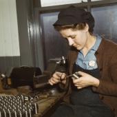 War Production Worker Making Gun Parts