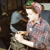 Woman War Worker Files Small Gun Parts
