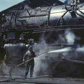 Wiper Gives Locomotive a Steam Bath at the Roundhouse