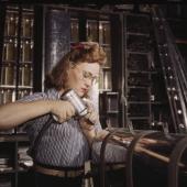 Woman Worker Assembles Aircraft Stabilizer Part