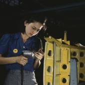 Worker Drills Vengeance Bomber Horizontal Stabilizer