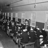 WAVES Having First Meal in Mess Hall