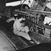 WAVES Aviation Machinist's Mates Work on Training Plane