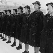 U.S. Navy WAVES Standing for Inspection in Snow