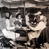 Navy Nurses Having Lunch on Outdoor Patio