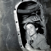 WAC Private Works on B-17 Aircraft Wing