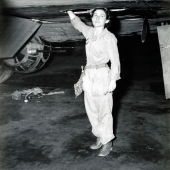 WAC Working on Wing of a B-17 Bomber at Tyndall Field
