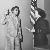 Harriet Ida Pickens Sworn in as Apprentice Seaman