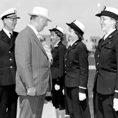 Secretary of the Navy Reviews WAVES Officers