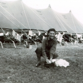 Army Nurse Doing Laundry in a Helmet
