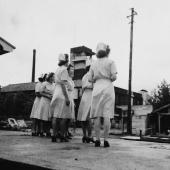 Navy Nurses from USS Haven Await POW Arrivals