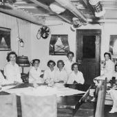 Navy Nurses in USS Relief (AH-1) Wardroom