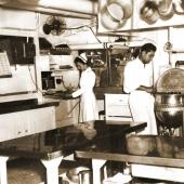 Navy Nurse Prepares Patient's Meal in Ship's Kitchen