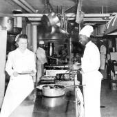 WWII Navy Nurse and Steward in Hospital Ship's Kitchen