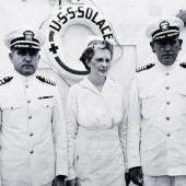 Navy Nurse with Captains on Hospital Ship USS Solace