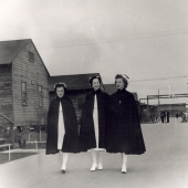 Three Navy Nurses Walking on Base