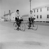 Army Nurses Riding Bikes at Camp Atterbury