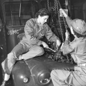 Women Mechanics Repair Marine Corps Bus Engine