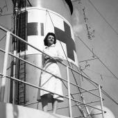 Navy Nurse Poses on Hospital Ship USS Refuge