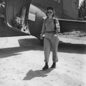 Flight Nurse Leaving Transport Plane